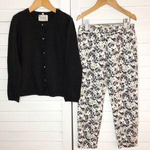 Zara Kids Girl Black Cardigan Floral Pants 7 8